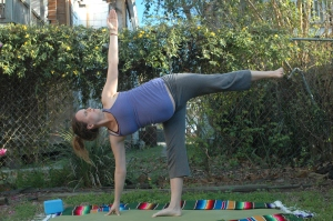 Ardha chandrasana while seven months pregnant with first child.