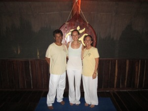 My teachers, Lal Maharajh, and Lorrie (Shivakami) Conglose, and me in Isla Mujeres, Mexico.
