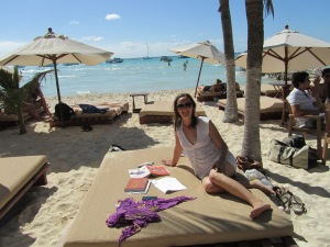 Studying while lounging at Playa Norte, Isla Mujeres, Mexico, in April 2013.