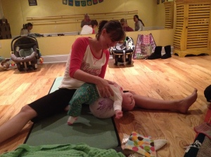 At a mama-baby yoga class with my seven-month-old daughter in Charleston, SC. (2011)